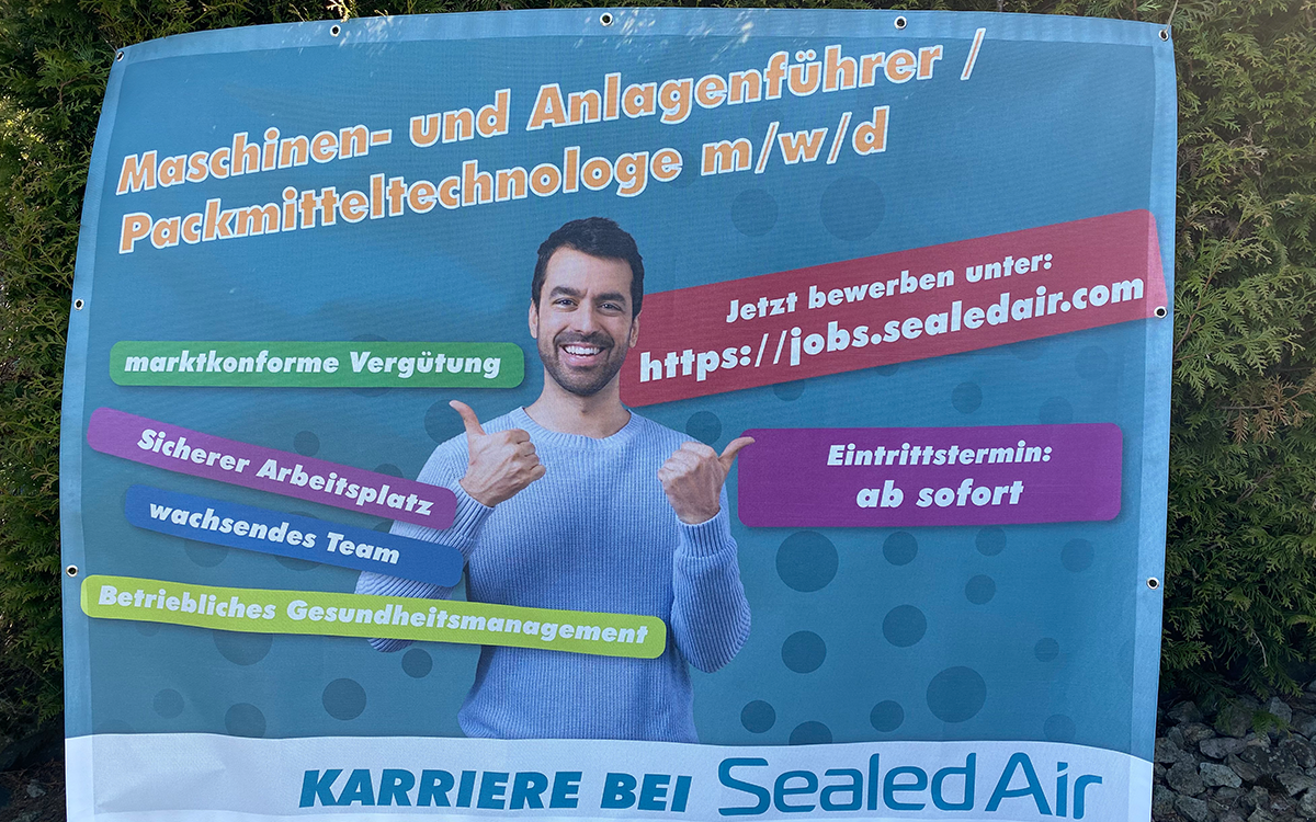 Bauzaunbanner Sealed Air Alsfeld Werbekampagne